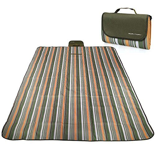 RoryTory Multi-Family Large Olive Striped Waterproof Picnic Camp Blanket Mat -- Learn more by visiting the image link.