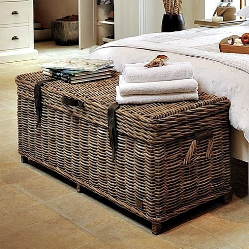 Storage Bedroom Bench Wicker Rattan Box Chest Seat Cushion Trunk Conservatory Seat Cushions