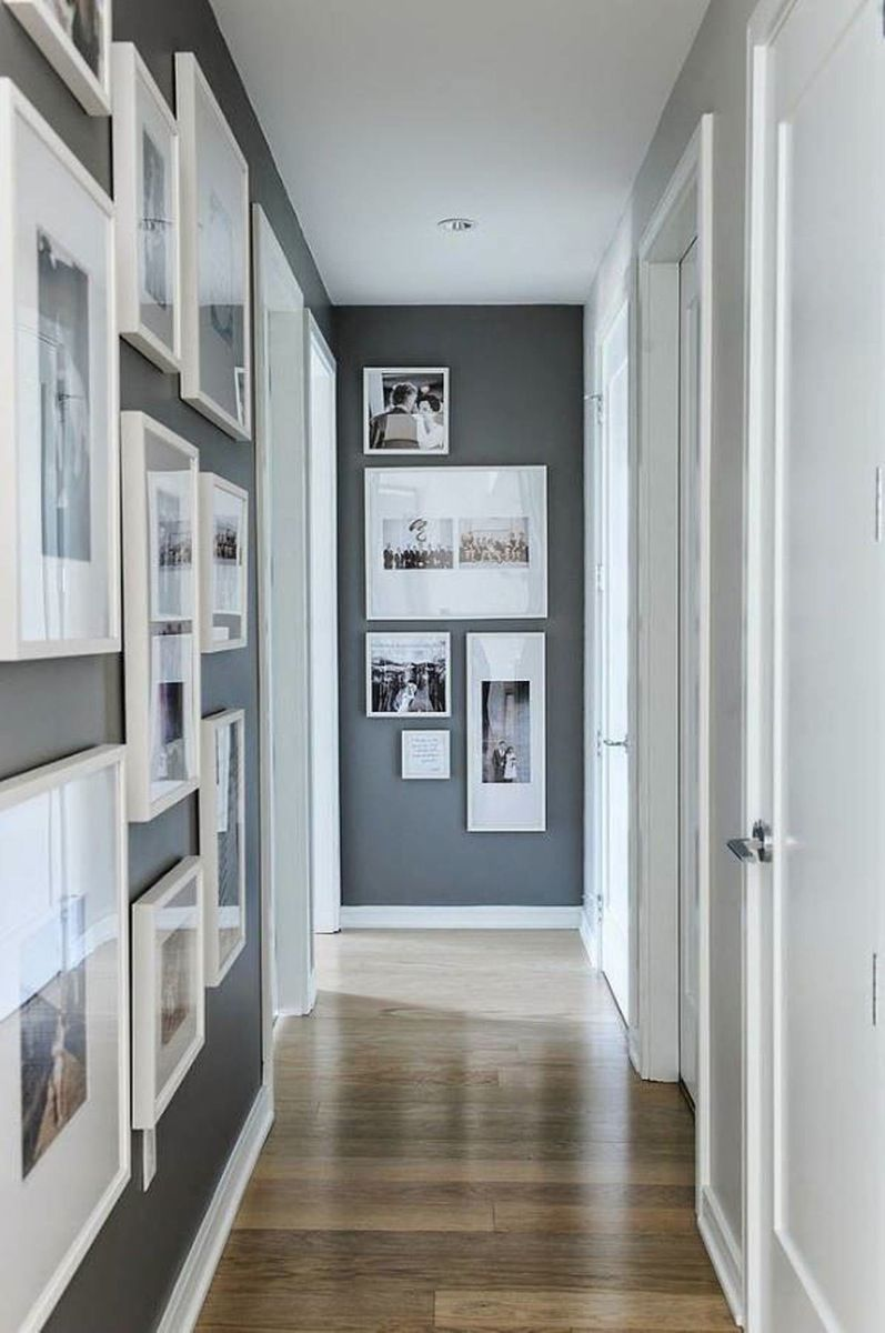 Wooden Floor Plus White Wall Color In Hallway Decorating Ideas Grey ...