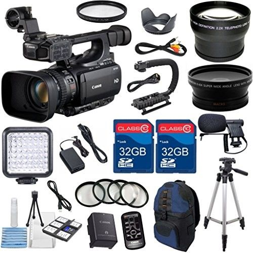 Canon XF100 Professional Camcorder with 10x HD Video lens Compact Flash (CF) Recording with Extra 2pc 32GB High Speed Memory Cards + Accessory Bundle & Canon XF100 Professional Camcorder with 10x HD Video lens Compact ...