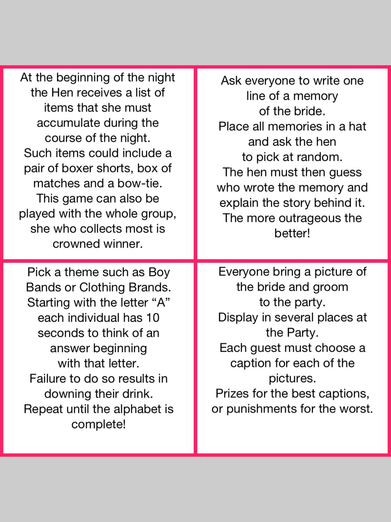 hens night games i like the 2nd 3rd one boy bands one