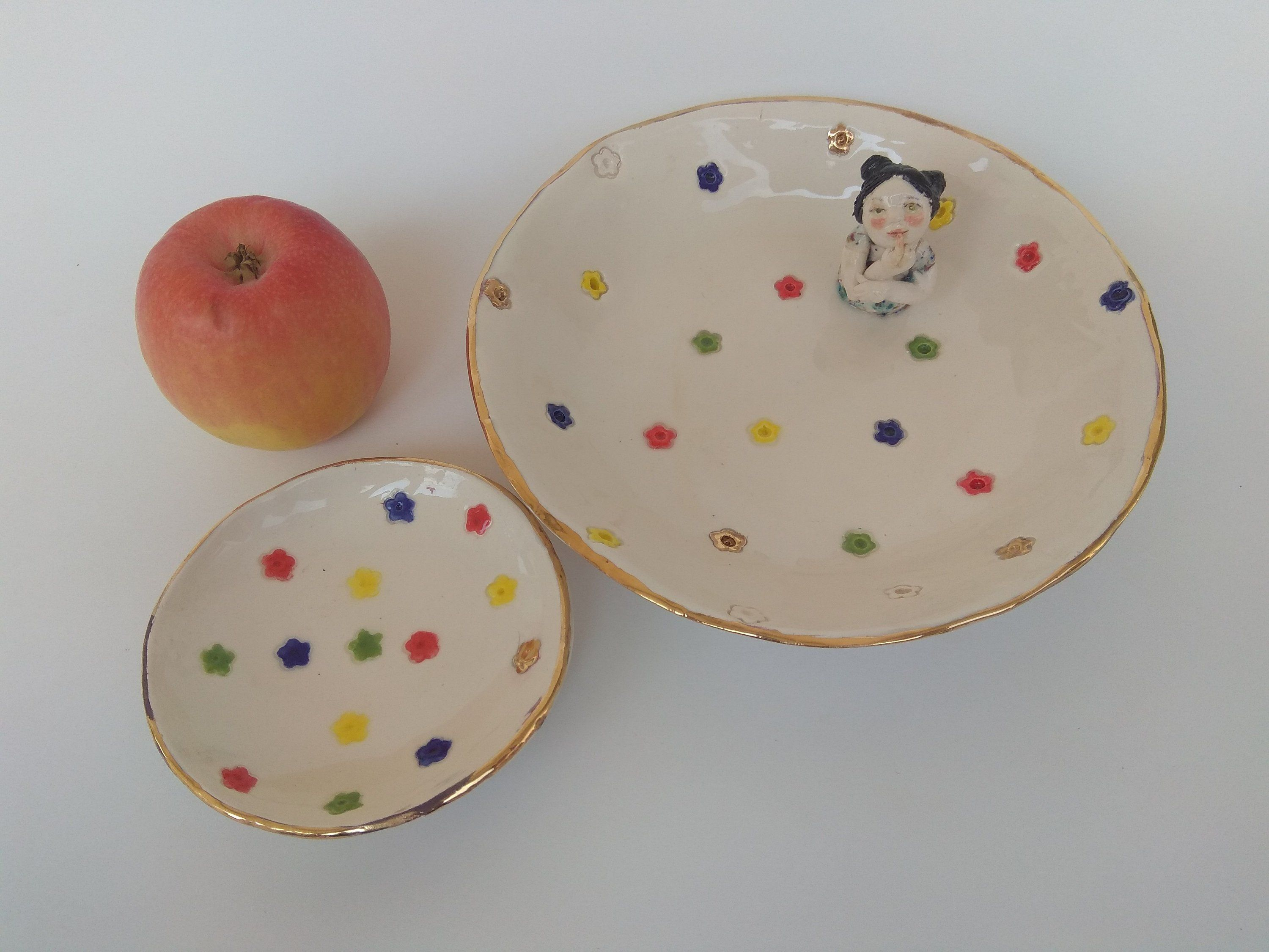Ceramic Plate Made In Israel Pottery Tray Platter Artisan Home and Table Decor Rosh Hashana Serving Dish with Apple and Pomegranate Decorations Handmade of Clay