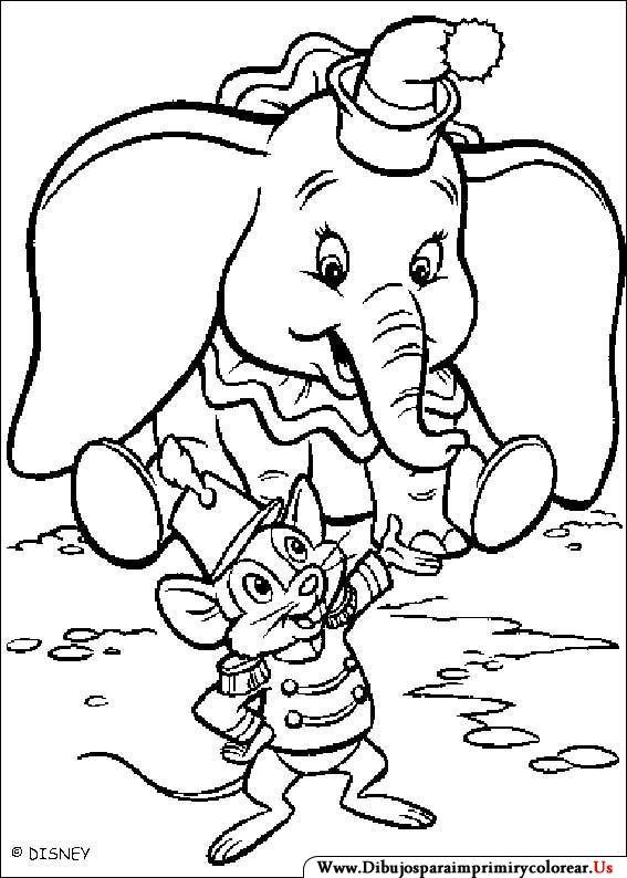 Dibujos de Dumbo para Imprimir y Colorear | maľovanky zvierata ...