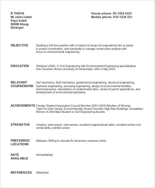 Civil Engineer Fresh Graduate Geotechnical Sample Resume