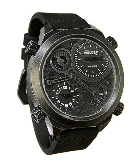 Welder K50-401 - Reloj para hombres, correa de cuero color negro-PREFERIDO-