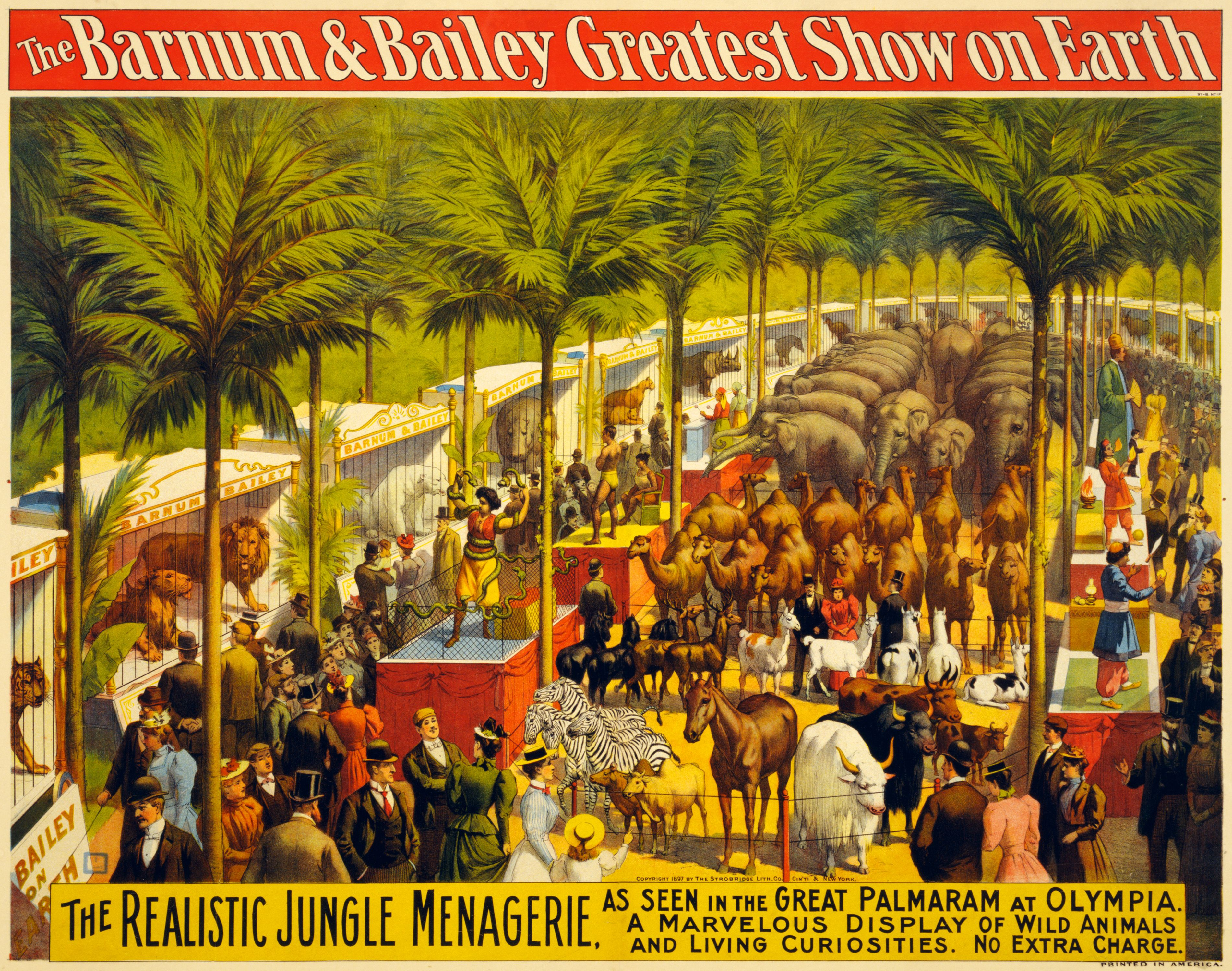 The realistic jungle menagerie poster for Barnum & Bailey, 1897 ...