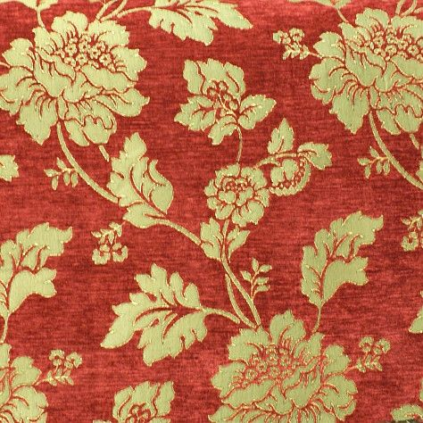 Italian Floral Red Chenille Jacquard Designer Curtain Upholstery Fabric