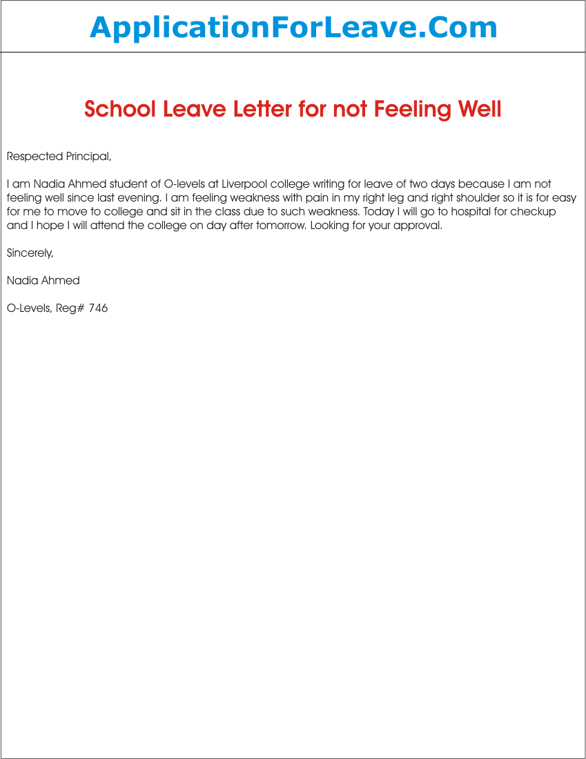 School leave application for not feeling well college letter school leave application for not feeling well college letter examples denial sample sick leave application letter format for office semioffice school thecheapjerseys Images