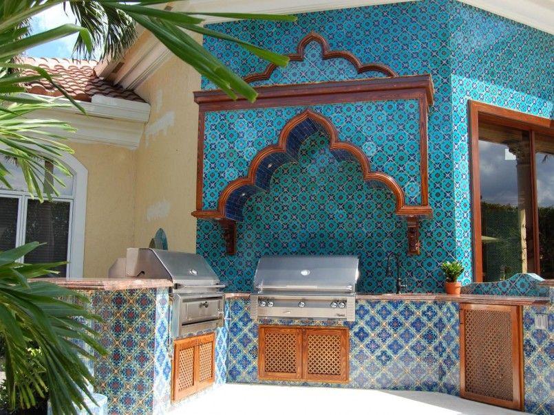 Kitchen Design Middle East Outdoor Kitchen With Blue Pattern Tiel ...