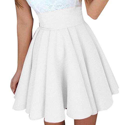71585b279d62 Pingtr Sexy Pleated Mini Skirt Skater Flared Skirt Cocktail Mini Skirt Women  High Waist Short Skirt