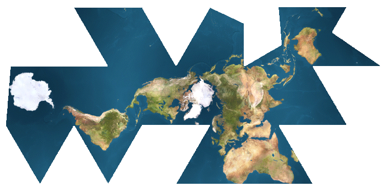 Buckminster fullers dymaxion mapthere is one ocean and the earth dymaxion world map unfolded places spaces mapping science gumiabroncs Choice Image