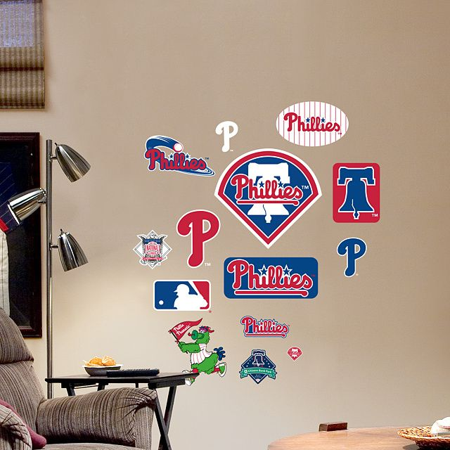Team Logo Mlb Sports Decor Philadelphia Phillies Diy Bedroom Wall Decal Man Cave Baseball