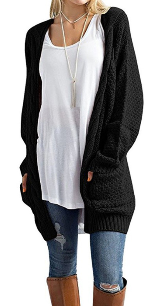 ccf16215dd44ae Black Cozy Cable Knit Longline Cardigan Sweater | Fall Love ...