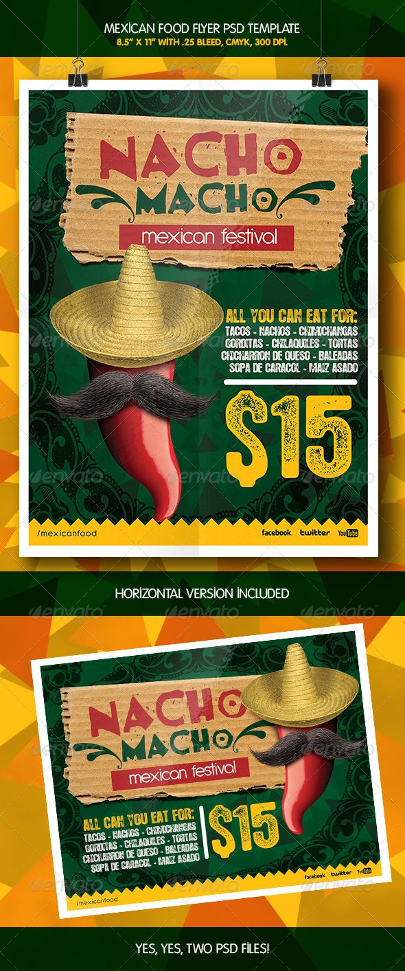 Flyer Ideas Mexican Macho Nacho Flyer Template Graphicriver Flyer Mexican