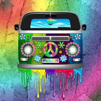 Fleur Hippie Hippie Van Dripping Arc Peinture Peace And Love En