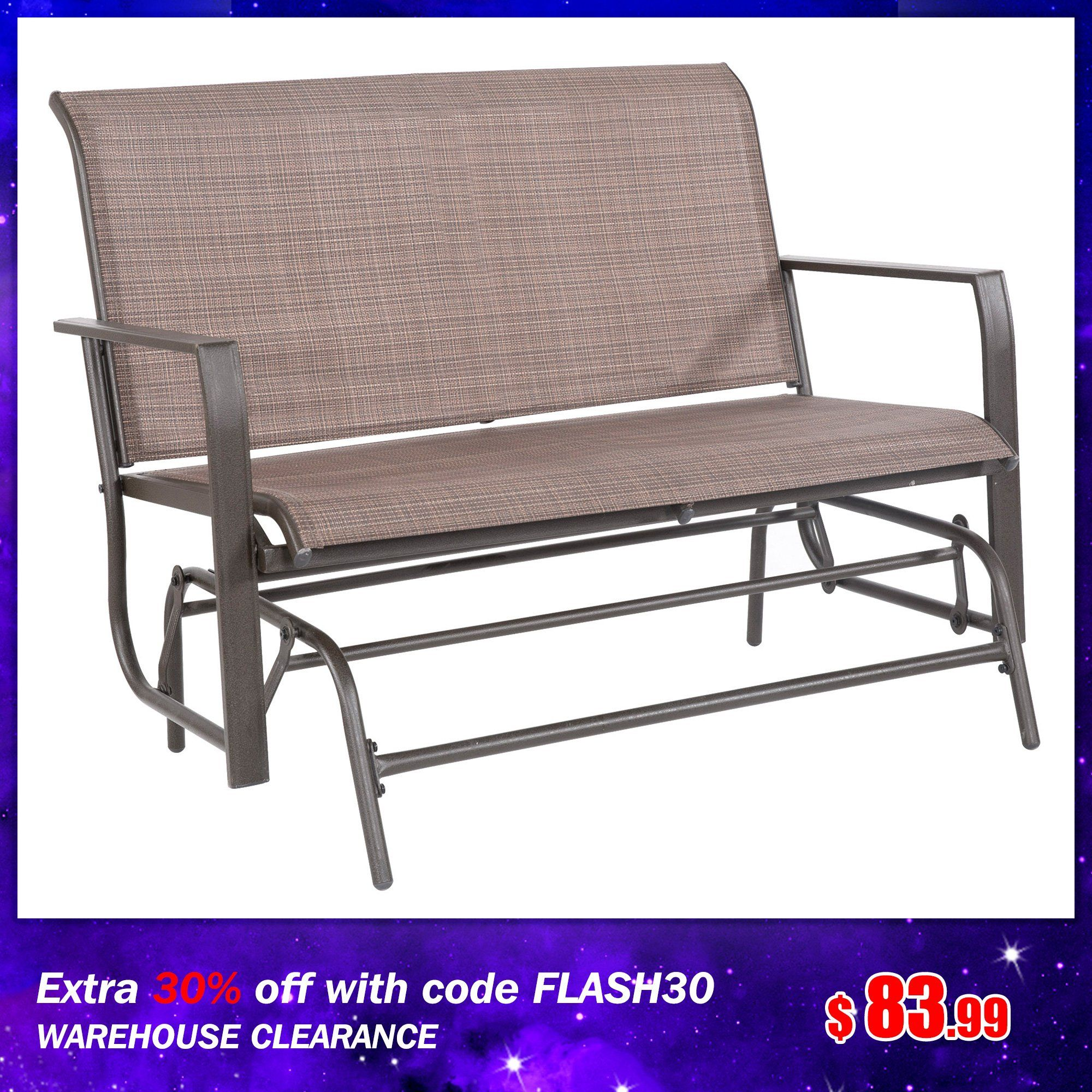 Outdoor Patio Loveseat Rocking Bench Furniture Swing Rocker Lounge