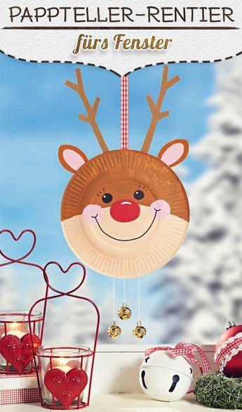 Pappteller-Rentier für Weihnachten | familie.de #fensterdekoweihnachtenbasteln