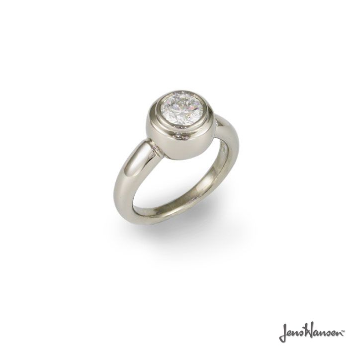 JENS HANSEN 18ct White Gold and .75 - 1 carat round Brilliant, Ideal cut Diamond. Approx price $9899