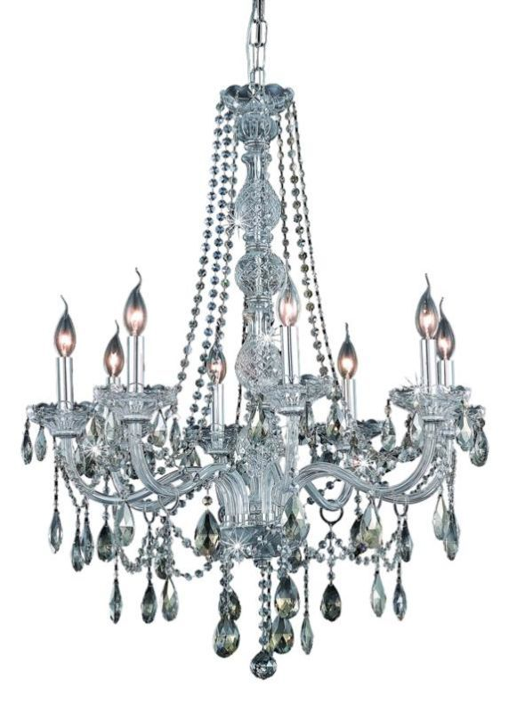 Elegant Lighting 7958D28C-GT Verona 8-Light Single-Tier Crystal Chandelier Fin Royal Cut Smoky Golden Teak Crystal Indoor Lighting Chandeliers