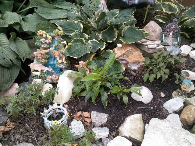 Fairy garden using fines at yard sales and second hand stores!