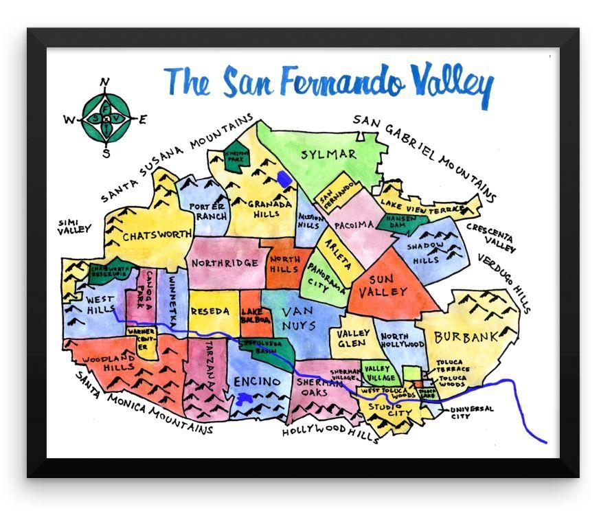 Wall Art  San Fernando Valley California hand drawn city map