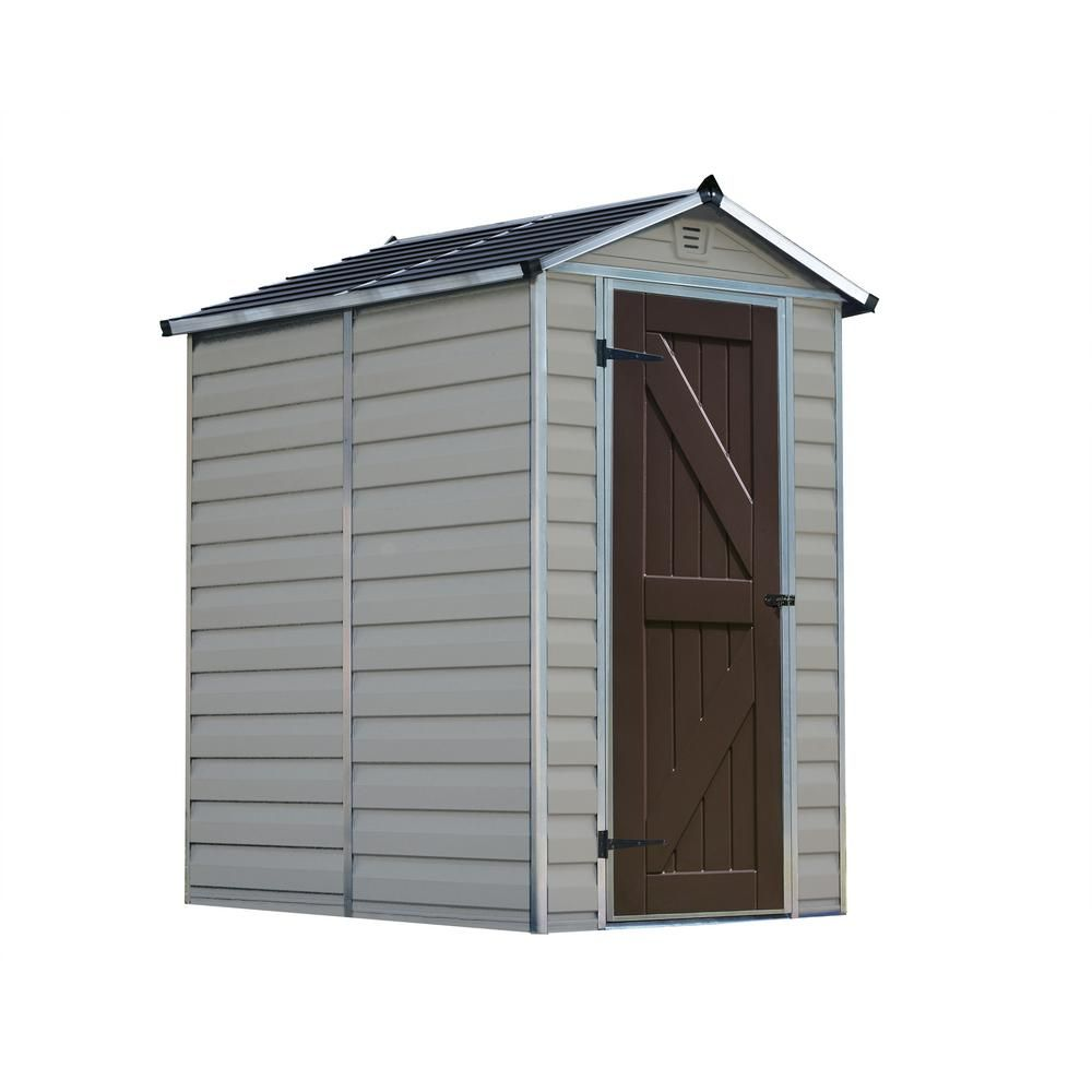 Palram Skylight 4 Ft X 6 Ft Tan Storage Shed 703474 The Home Depot Storage Shed Shed Vinyl Storage Sheds