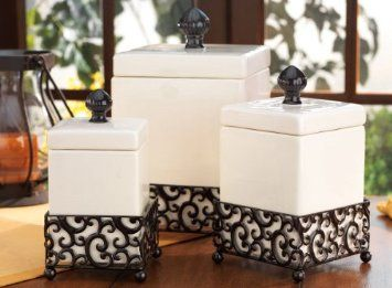 Set Of 3 Attractive Ceramic Canisters In A Metal Base Home