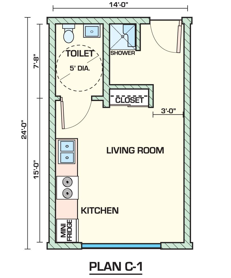 Apartments sahara student living apartments floor plan c1 for Garage apartment plans with kitchen