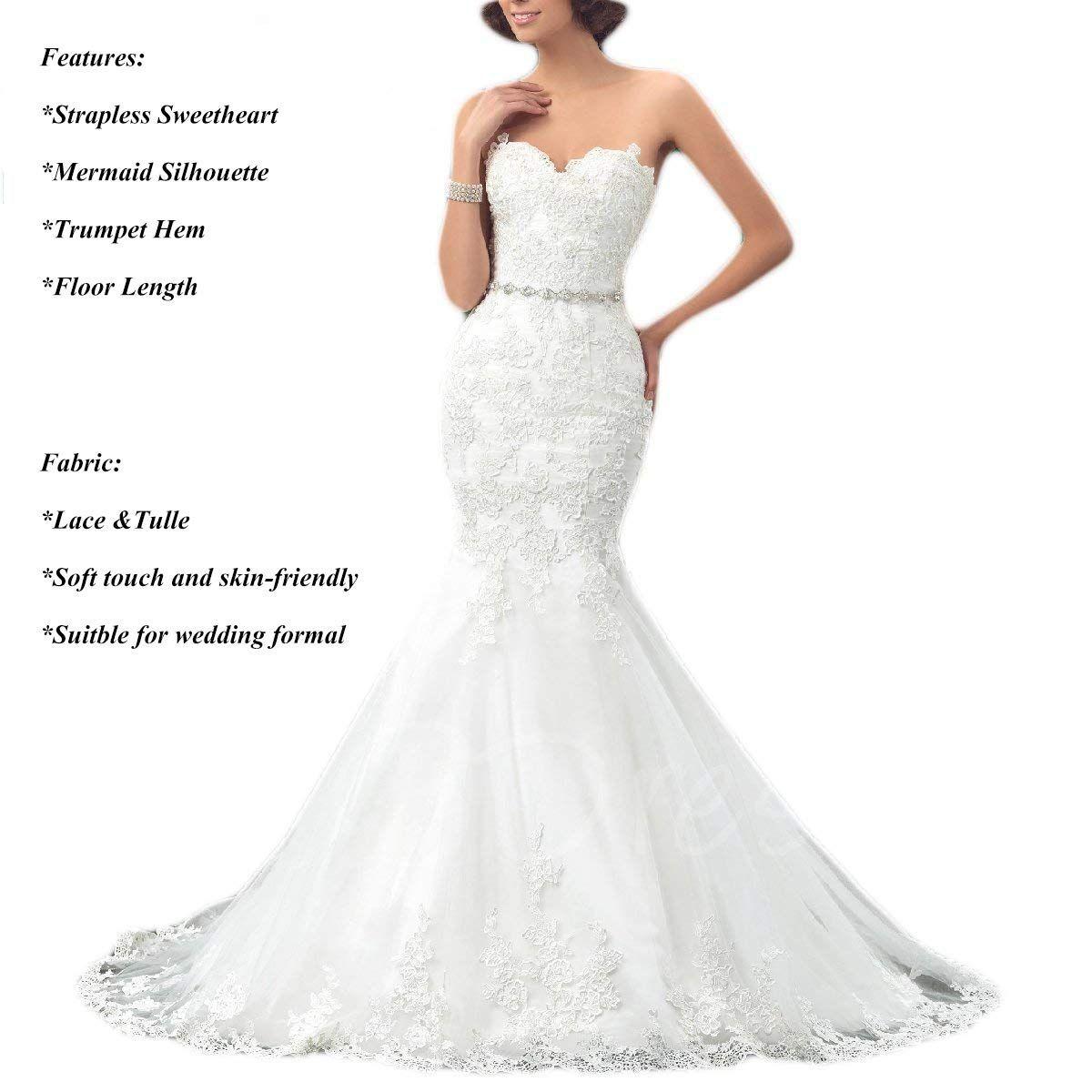 Oyisha Womens Sweetheart Mermaid Wedding Dress Beaded Bridal Dresses Long Wd162 Ivory Bridal Dresses Lace Lace Mermaid Wedding Dress Classic Wedding Dress Lace [ 1200 x 1200 Pixel ]