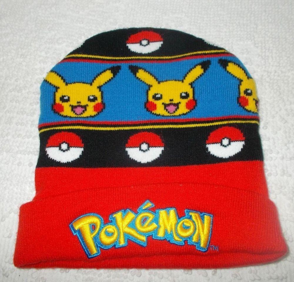 Pokemon Pikachu Pokeball Knit Winter Beanie Hat Cap  Pokemon ... 7ccf74cfec4c