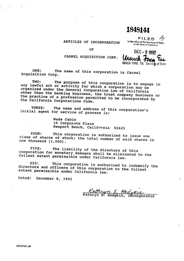 Articles of Incorporation of Presley CMR, Inc - articles of - sample severance agreement