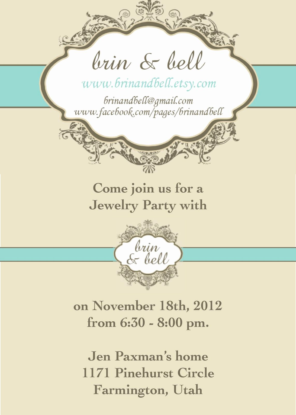 Jewelry Party Invitation  Party invite template, Jewelry party