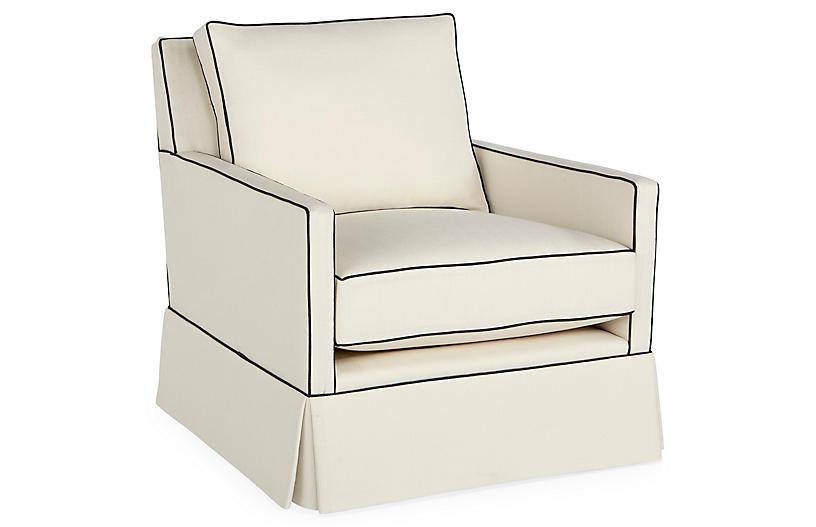 Auburn Skirted Club Chair   White Crypton   Miles Talbott
