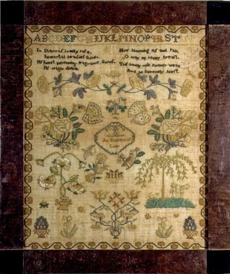 Delaware River Valley Sampler C 1800 An Emblem Of Love Anonymous Sampler Probably Worked In The Delaware R Antique Samplers Vintage Samplers Needlework