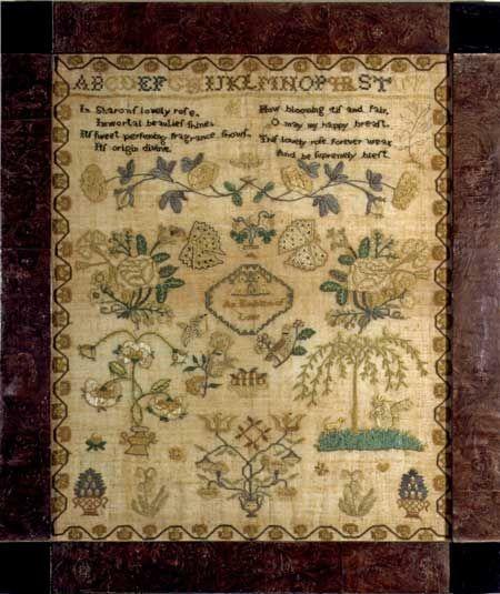 Delaware River Valley  Emblem of Love antique sampler from Huber