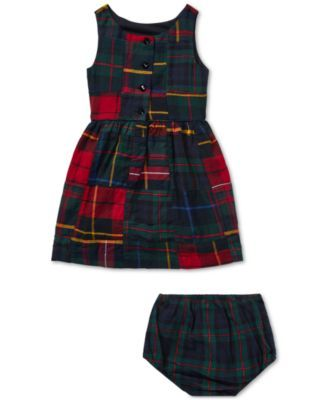 83235e99f2 Polo Ralph Lauren Baby Girls Tartan Patchwork Cotton Dress - Red ...