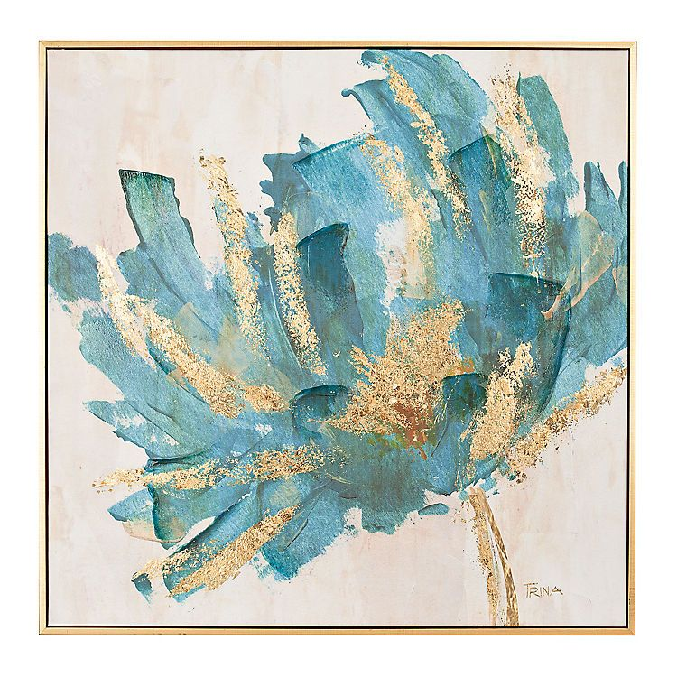 Gorgeous Golden Accent Wall Art Canvas Print Poster: Turquoise And Gold Foil Flower Framed Art Print