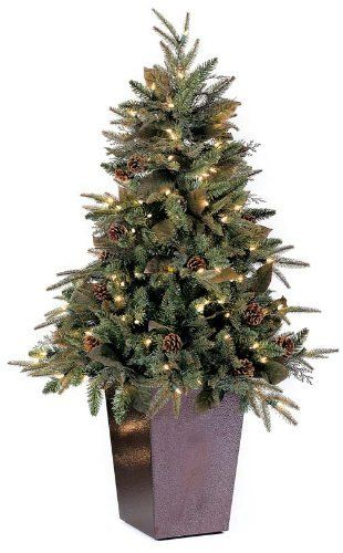 gki bethlehem lighting pre lit 5 foot pepvc christmas tree in square metal pot with 150 clear mini green river spruce by gki bethlehem lighting