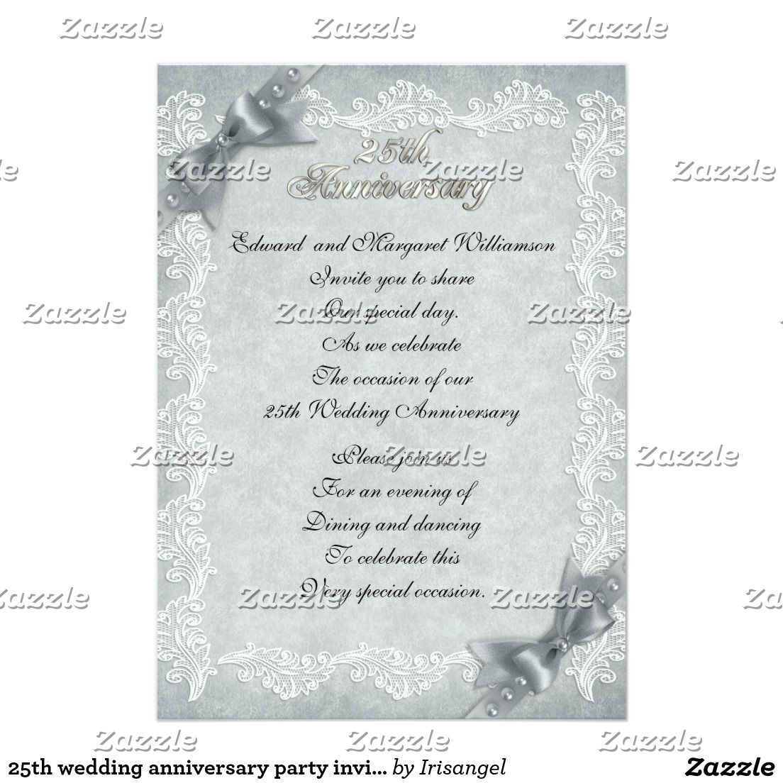 25th wedding anniversary party invitation elegant | Anniversary ...