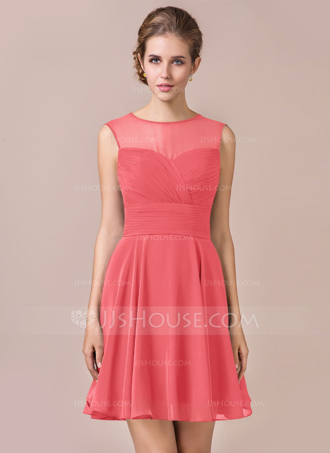 90d4f0b6dcd0 A-Line/Princess Scoop Neck Knee-Length Chiffon Bridesmaid Dress With Ruffle  (007063002) - JJsHouse