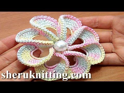Blume häkeln - einfach und schnell - 5 Blätter - 3D Blume - YouTube ...