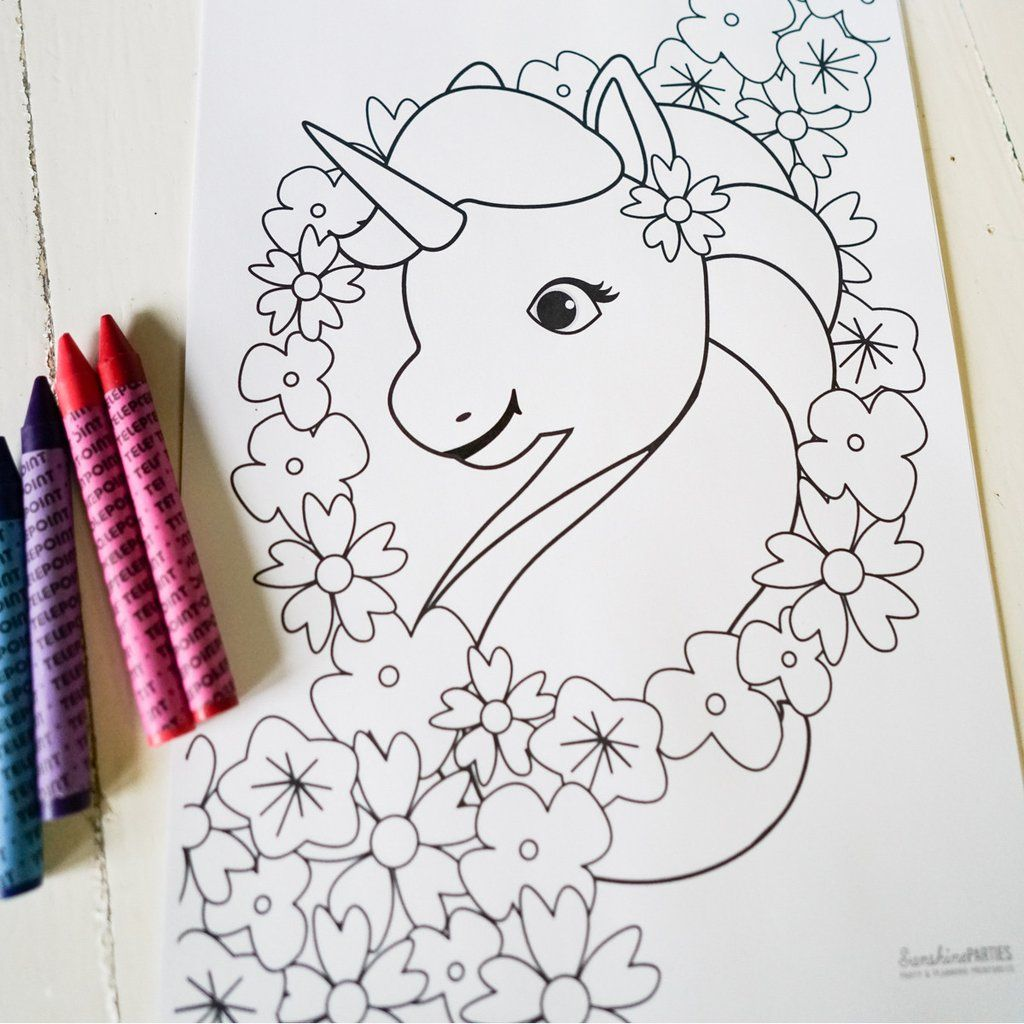 Unicorn Birthday Party Coloring-In Page