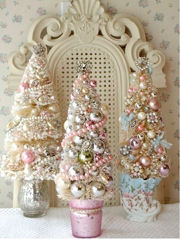 Shabby Chic Mini Christmas Tree Table Decorations Kitch En Glamour