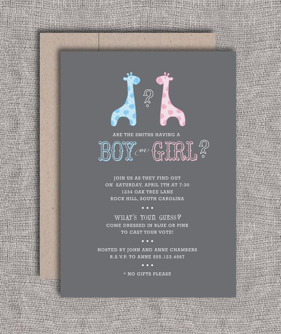gender reveal party printable baby shower invitation giraffes - Gender Reveal Baby Shower