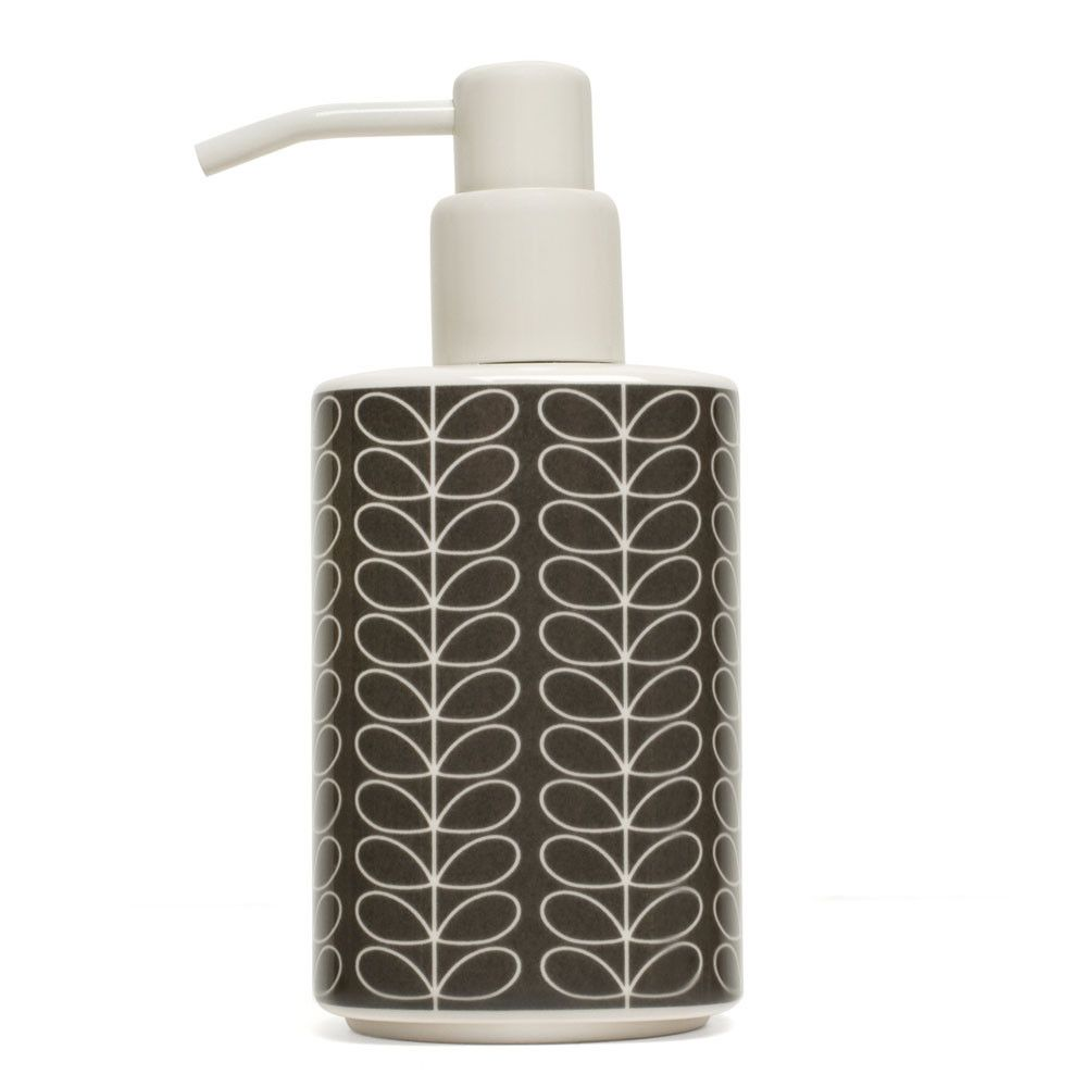 Discover The orla Kiely Linear Stem Elephant Grey Soap Dispenser