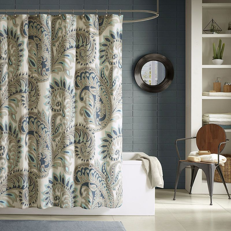 Ink Ivy Mira Printed Cotton Shower Curtain Blue Shower Curtains Printed Shower Curtain Fabric Shower Curtains