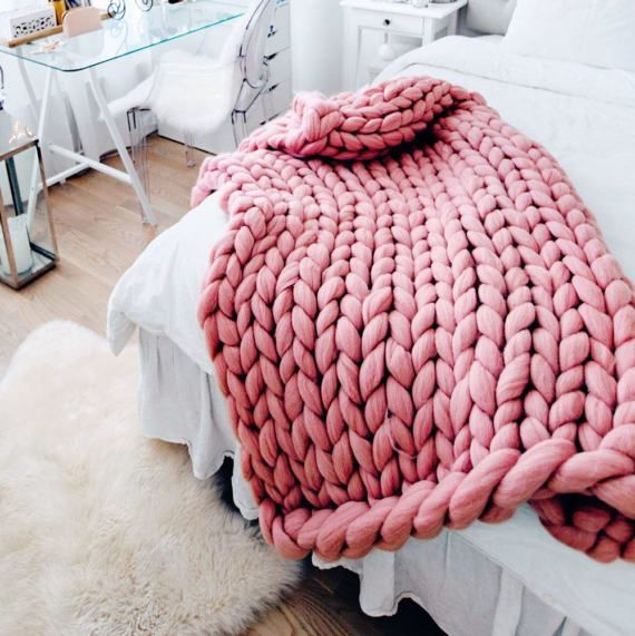 Chunky Knit Blanket Coral Blanket Super Chunky Blanket Chunky Knit Blanket Knitted Blankets Thick Yarn Blanket