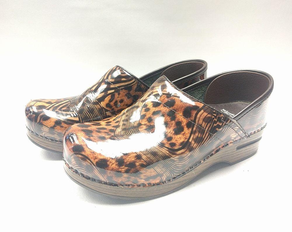 bc33aeb50b6 Dansko Professional Patent Leather Cheetah Leopard Print Clogs EU 39 ...