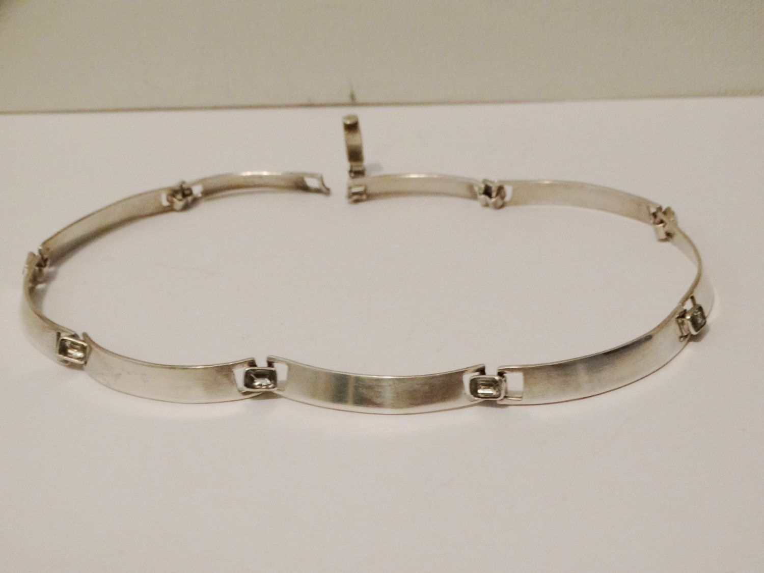 Solid Sterling Silver Choker Necklace With Clear Stones