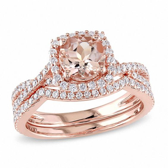6 5mm Morganite And 3 4 Ct T W Diamond Square Frame Bridal Set In 14k Rose Gold Diamond Bridal Sets Bridesmaid Jewelry Sets 14k Rose Gold Engagement Rings